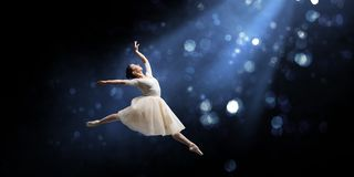 Ballet dancer in jump royalty free stock photo