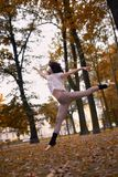 Ballet dancer jump in a garden the city of St. Petersburg Royalty Free Stock Image