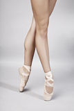 Ballet dancer legs. Closeup of female ballet dancer legs stock photography