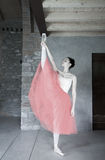 Ballet dancer makes warm up before performance Royalty Free Stock Images
