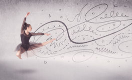 Ballet dancer performing art dance with lines and arrows Stock Images