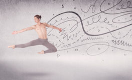 Ballet dancer performing art dance with lines and arrows Stock Photography