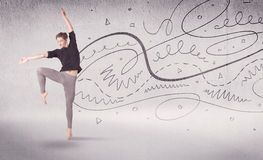 Ballet dancer performing art dance with lines and arrows Royalty Free Stock Photo