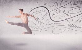 Ballet dancer performing art dance with lines and arrows Stock Image