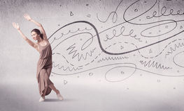 Ballet dancer performing art dance with lines and arrows Royalty Free Stock Photos