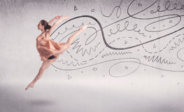 Ballet dancer performing art dance with lines and arrows Royalty Free Stock Photography