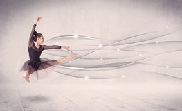 Ballet dancer performing modern dance with abstract lines. Concept on background Royalty Free Stock Photo