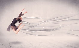 Ballet dancer performing modern dance with abstract lines Stock Photos