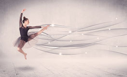 Ballet dancer performing modern dance with abstract lines Royalty Free Stock Photography