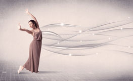 Ballet dancer performing modern dance with abstract lines Stock Images