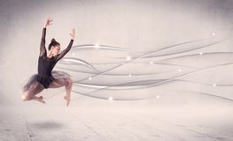 Ballet dancer performing modern dance with abstract lines. Concept on background Royalty Free Stock Images