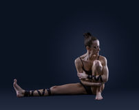 Ballet dancer portrait on dark blue background Royalty Free Stock Photo