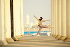 Ballet dancer posing in the city of St. Petersburg Stock Photography