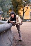 Ballet dancer posing in a garden the city of St. Petersburg Stock Photography