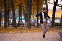 Ballet dancer posing in a garden the city of St. Petersburg Stock Photo
