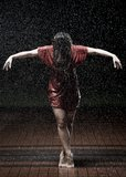 Ballet dancer in the rain Royalty Free Stock Image