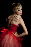 Ballet dancer in red dress Royalty Free Stock Photos