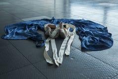 A ballet dancer`s dance gear. A ballet dancer`s ballet pointe shoes and her practice wrap skirt Royalty Free Stock Photos
