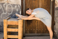 Ballet dancer showing her flexibility Stock Images