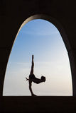 Ballet dancer silhouette  outdoors. Royalty Free Stock Photography