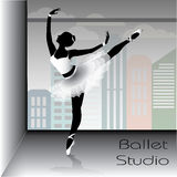 Ballet dancer silhouette, vector illustration. Stock Photo