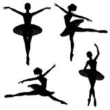 Ballet Dancer Silhouettes - 1. Silhouettes of a ballerina in a classical style tutu on a white background in various ballet poses Royalty Free Stock Photos