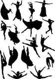 Ballet dancer silhouettes Stock Images
