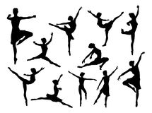 Ballet Dancer Silhouettes. A set of high quality detailed silhouettes of a ballet dancer dancing in various poses and positions stock illustration