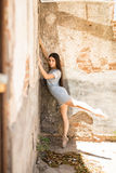 Ballet dancer standing on her toes Stock Images