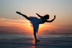 Ballet dancer. Standing pose silhouette stock photos