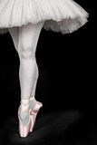 A ballet dancer standing on toes while dancing Stock Images
