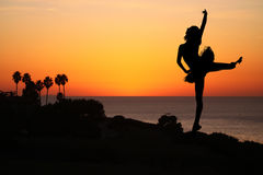 Ballet Dancer at Sunset Outdoors Royalty Free Stock Photo