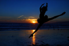 Ballet Dancer at Sunset Outdoors Royalty Free Stock Images