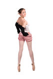 Ballet dancer in tracksuit is isolated Royalty Free Stock Photos