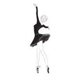 Ballet Dancer in Tutu Skirt. Vector illustration of graceful ballet dancer in tutu skirt on clear/white background Stock Image
