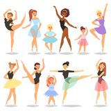 Ballet dancer vector ballerina character dancing in ballet-skirt tutu illustration set of classical ballet-dancer woman. Or girl isolated on white background royalty free illustration