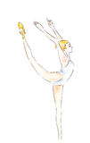 Ballet dancer watercolor painting illustration on white background Royalty Free Stock Image