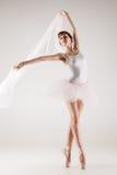 Ballet dancer in white tutu posing Royalty Free Stock Image