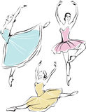 Ballet dancers. Line drawing of beautiful ballet dancers Stock Images