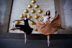 Ballet dancers on the city street stock photos