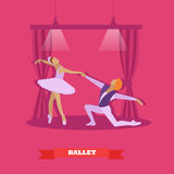Ballet dancers dance on a stage. Ballerina and male dancer vector illustration in flat style design Royalty Free Stock Images