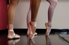 Ballet dancers feet. Detail of ballet dancers feet Royalty Free Stock Photo