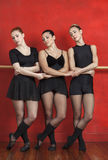Ballet Dancers Holding Hands While Performing In Studio. Young female ballet dancers holding hands while performing in studio Stock Image