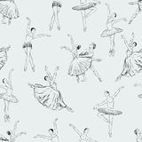 Ballet dancers pattern. Vector pattern of the ballet dancers in the various  dance poses Stock Photos