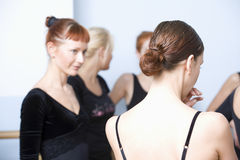 Ballet Dancers In Rehearsal Room. Rear view of women with classmates standing in ballet rehearsal room Stock Photography