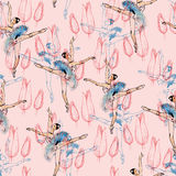 Ballet dancers seamless pattern.