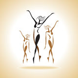 Ballet dancers silhouettes Royalty Free Stock Image