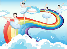 Ballet dancers in the sky with a rainbow Royalty Free Stock Photos