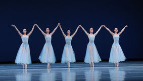 Ballet dancers on stage stock photos