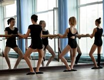Ballet dancers warming up Stock Photo